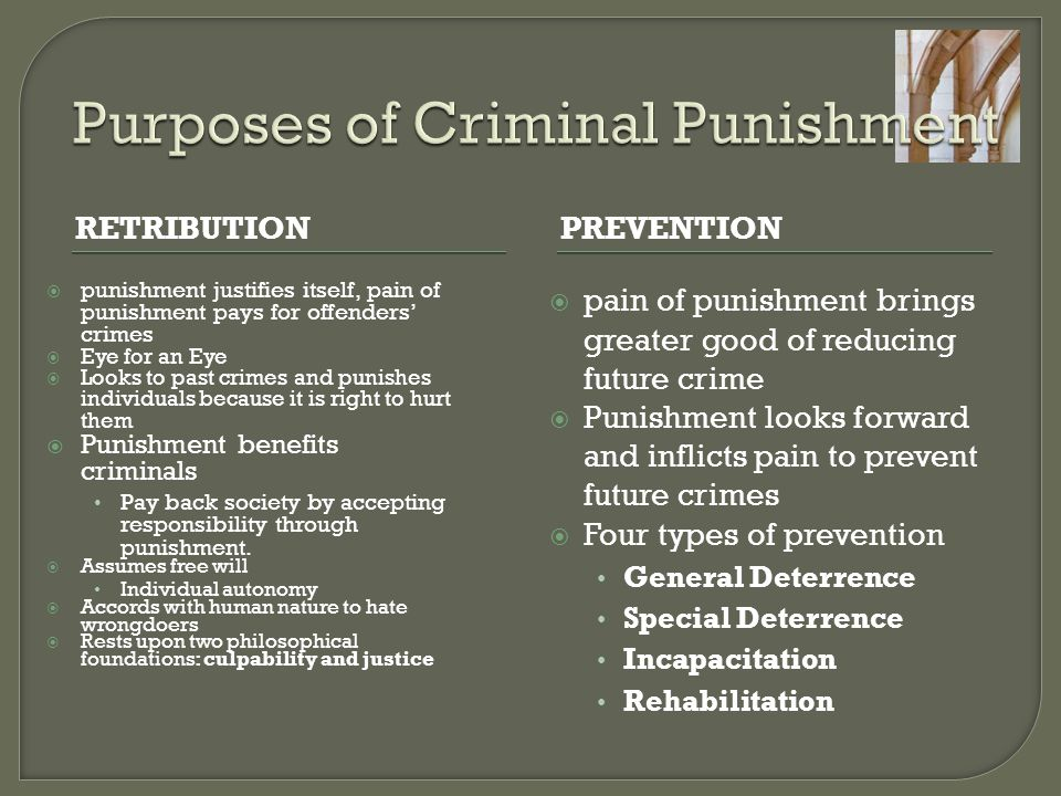 the purposes of punishment Purpose of criminal law in general, punishment has four main purposes in the us criminal justice system one purpose for punishment is to act as a deterrent.