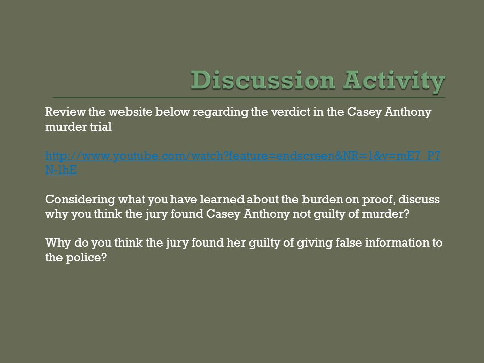 Discussion Activity Review the website below regarding the verdict in the Casey Anthony murder trial.