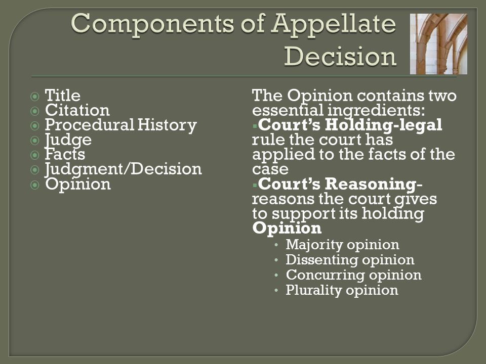 Components of Appellate Decision