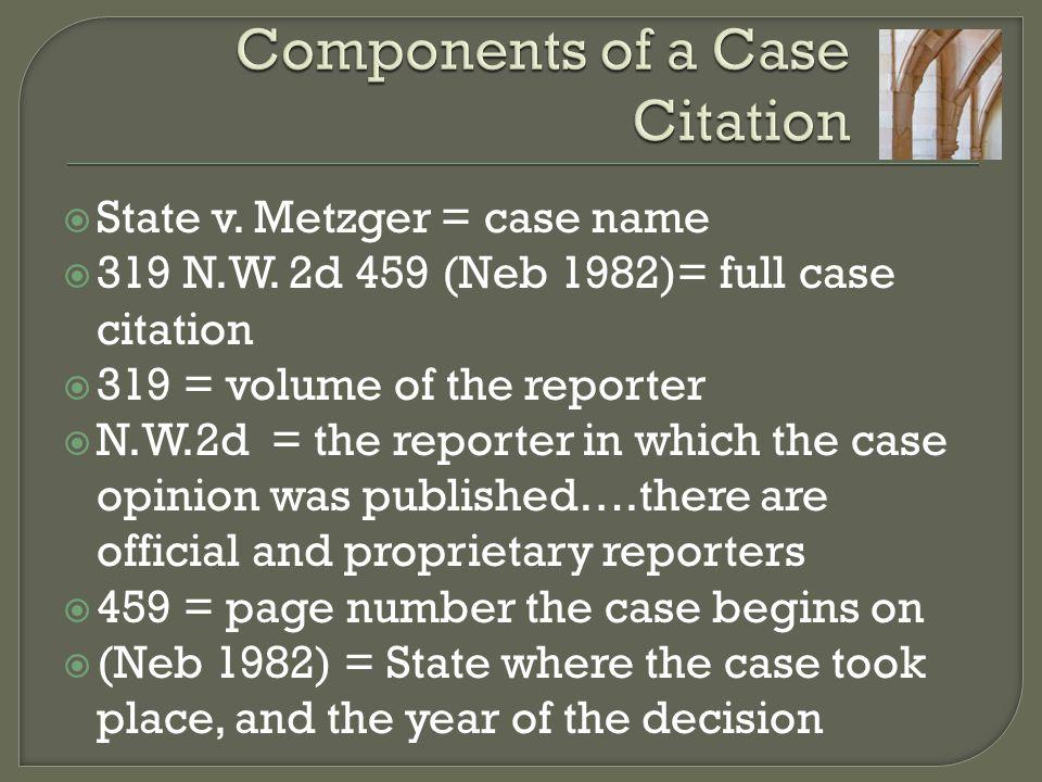 Components of a Case Citation