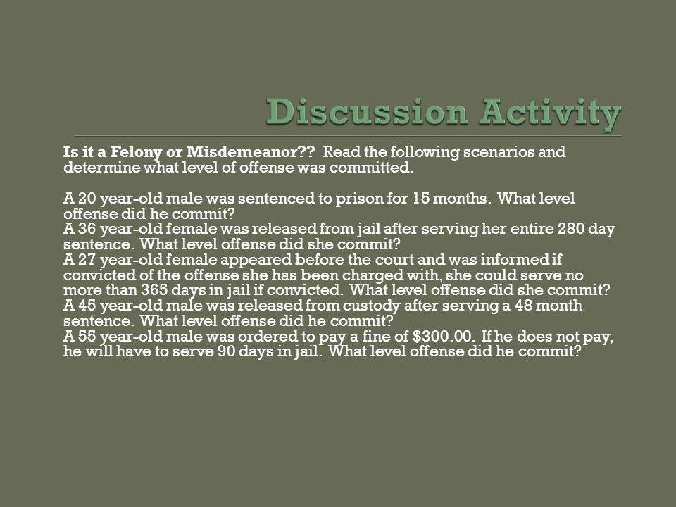 Discussion Activity Is it a Felony or Misdemeanor Read the following scenarios and determine what level of offense was committed.