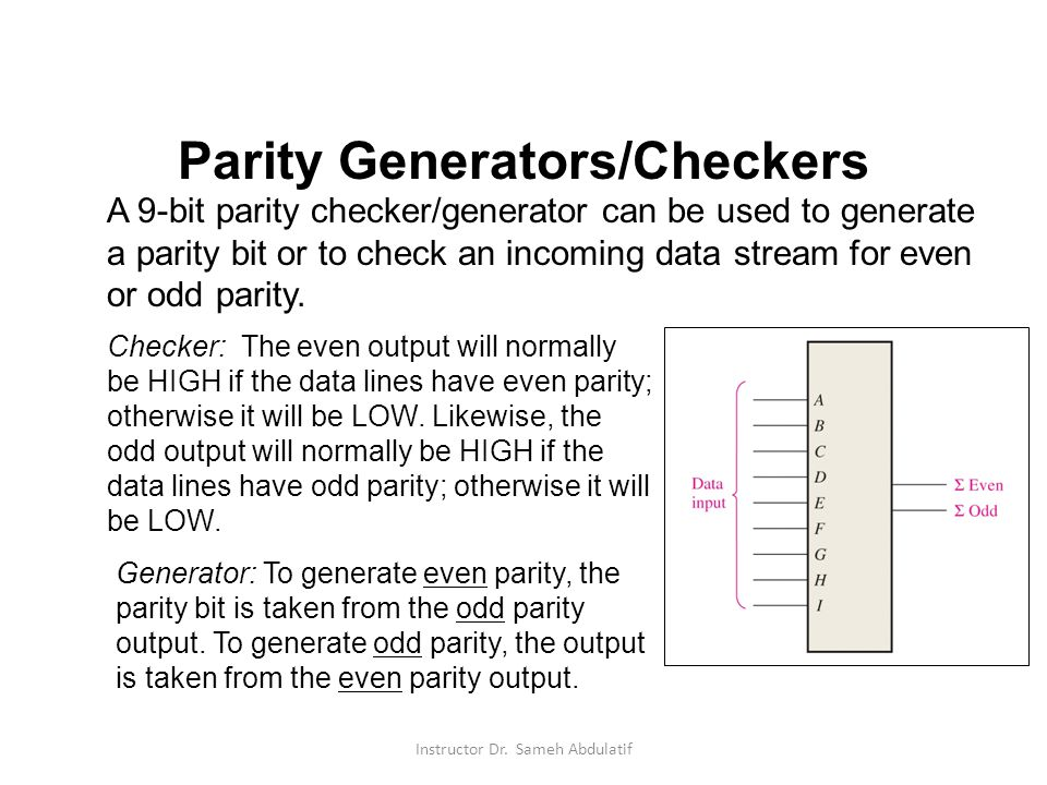 Parity Generators/Checkers