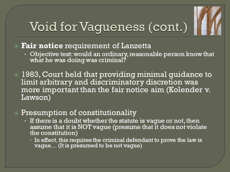 Void for Vagueness (cont.)