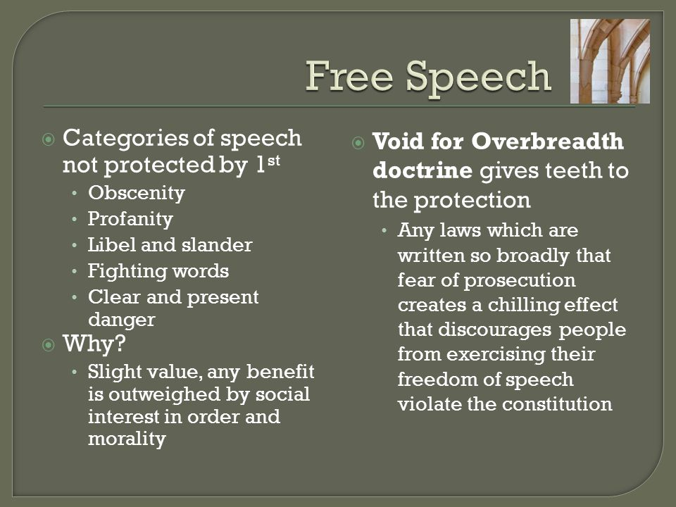 Free Speech Categories of speech not protected by 1st Why