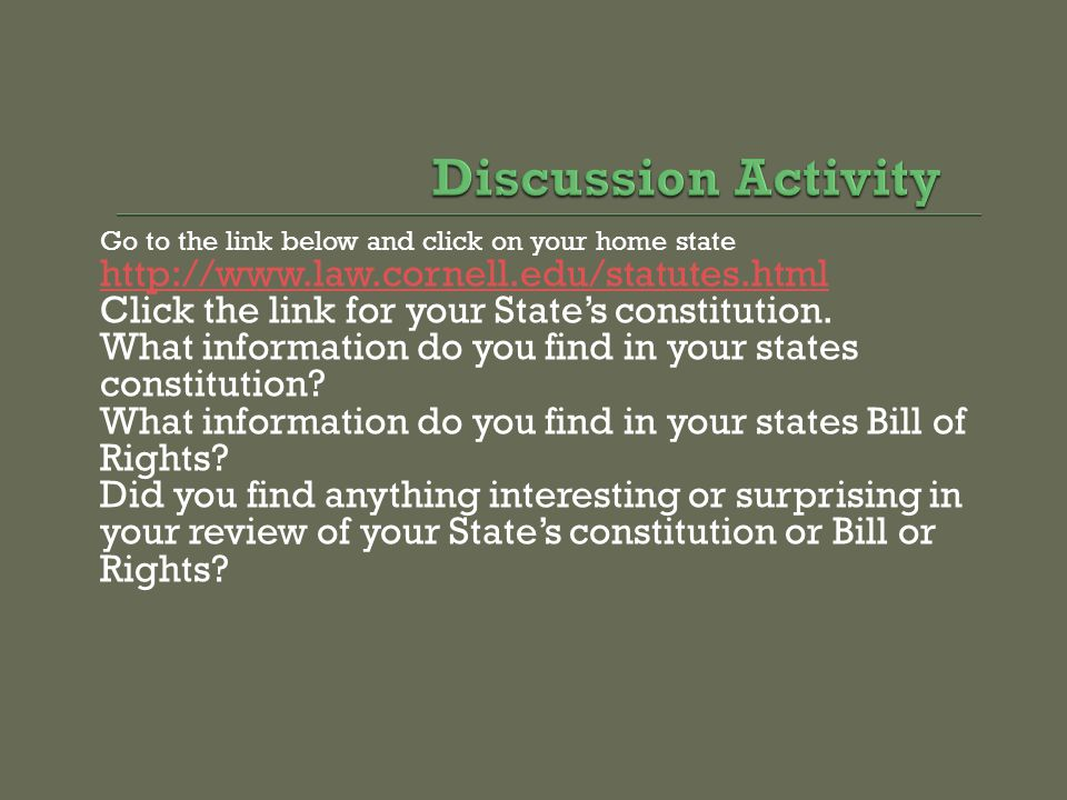 Discussion Activity http://www.law.cornell.edu/statutes.html