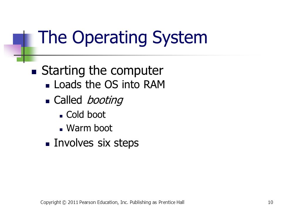 The Operating System Starting the computer Loads the OS into RAM