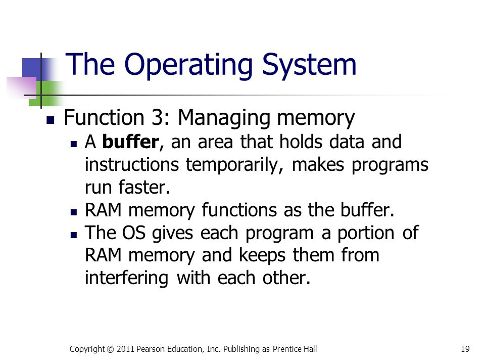 The Operating System Function 3: Managing memory