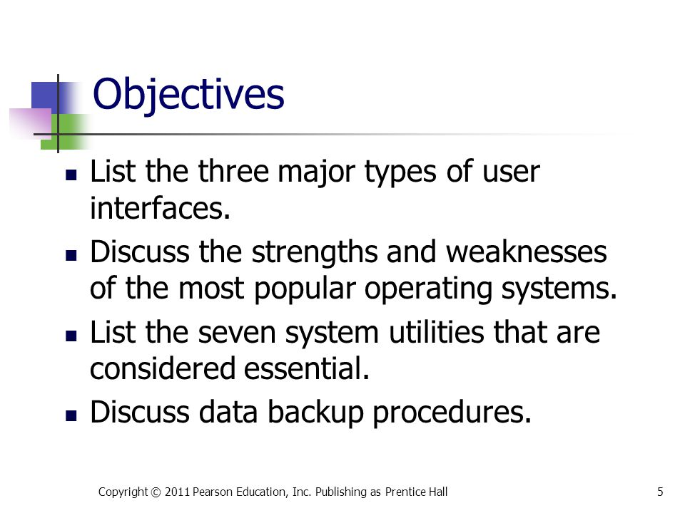 Objectives List the three major types of user interfaces.