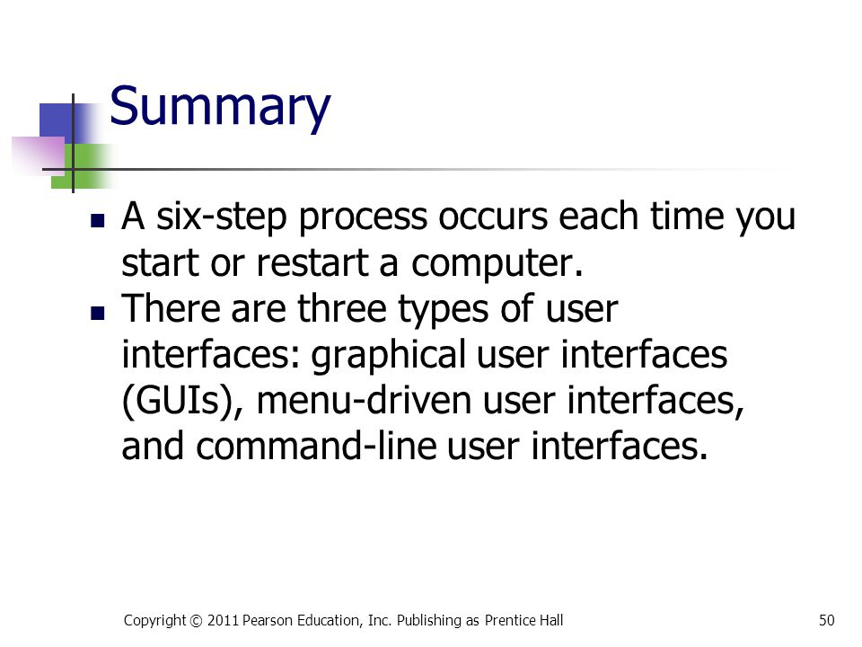 * 07/16/96. Summary. A six-step process occurs each time you start or restart a computer.