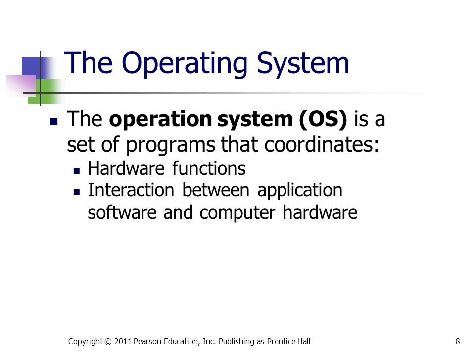 * 07/16/96. The Operating System. The operation system (OS) is a set of programs that coordinates: