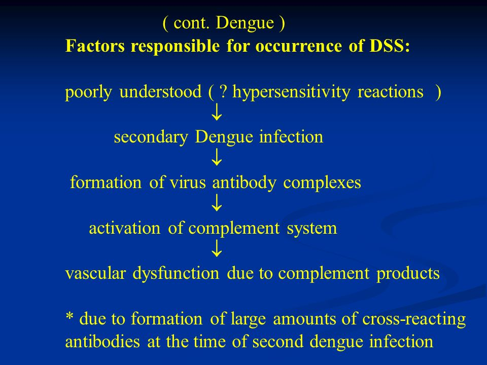 ( cont. Dengue ) Factors responsible for occurrence of DSS: