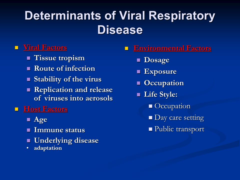 Determinants of Viral Respiratory Disease
