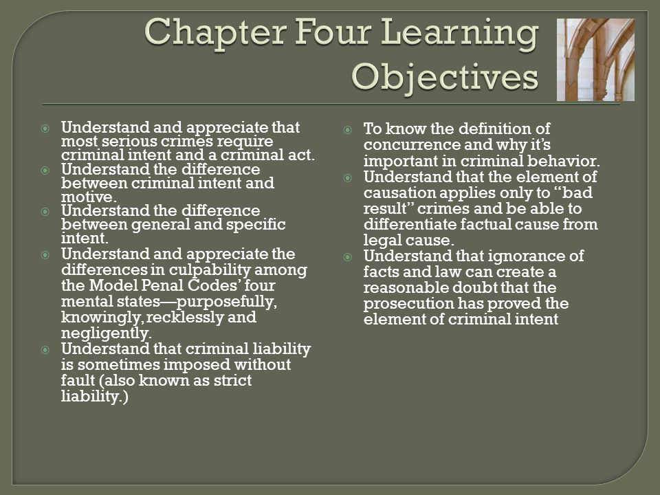 Chapter Four Learning Objectives
