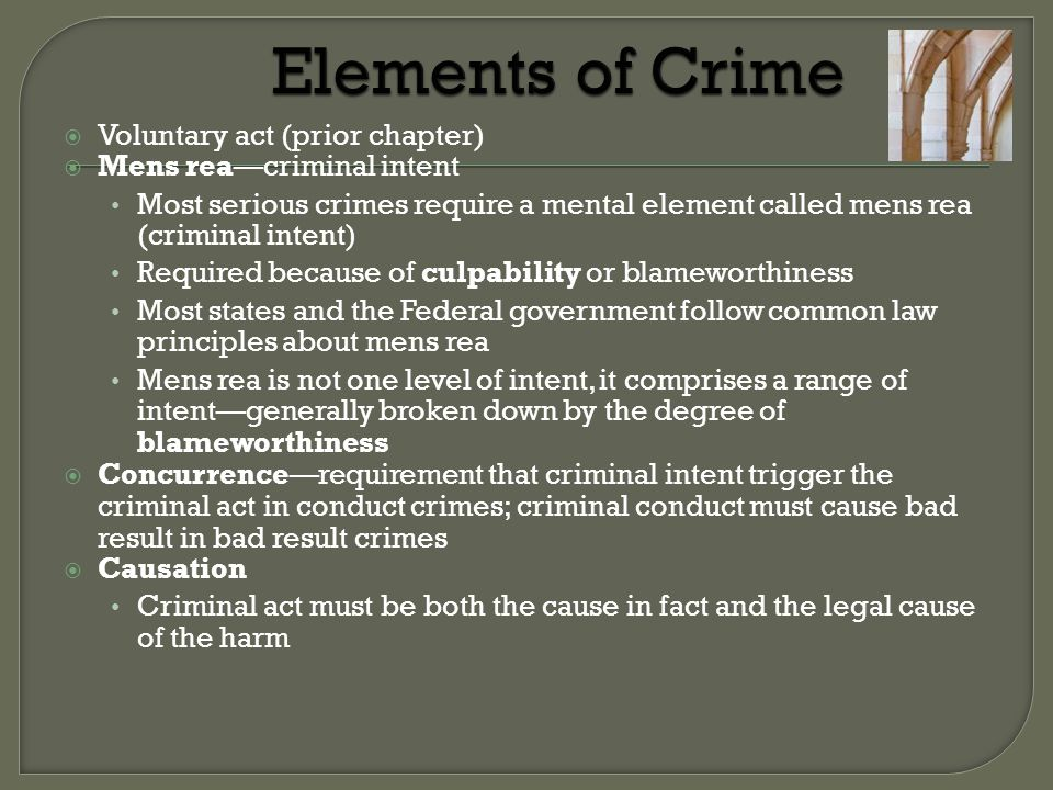 Elements of Crime Voluntary act (prior chapter)