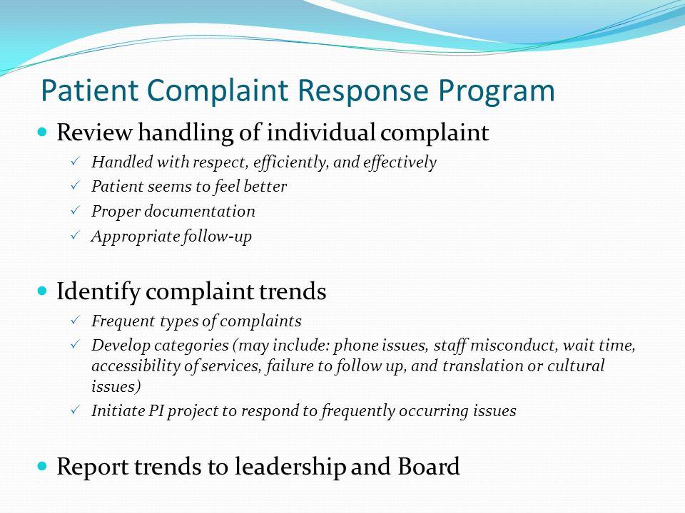 Patient Complaint Response Program