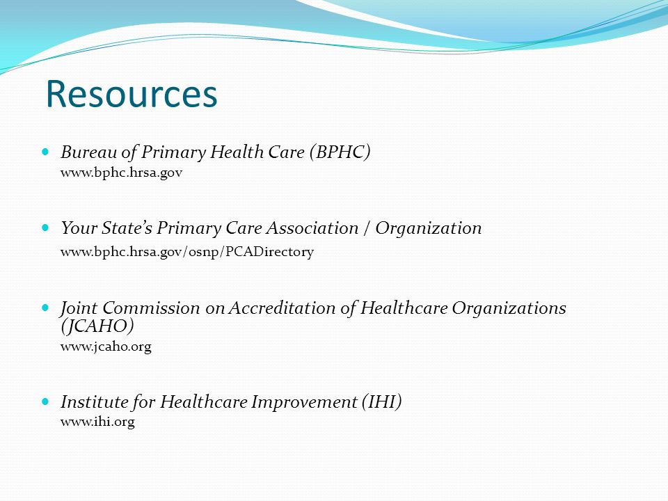Resources Bureau of Primary Health Care (BPHC)