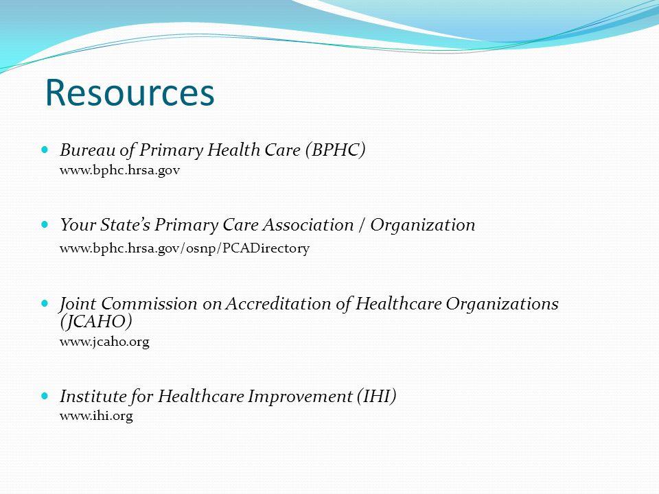 Resources Bureau of Primary Health Care (BPHC)