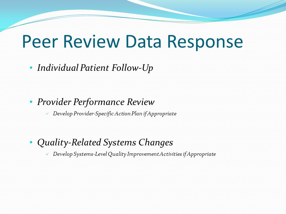 Peer Review Data Response