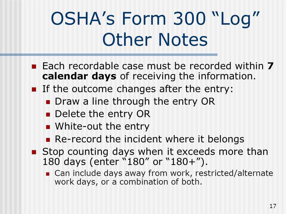 "OSHA Recordkeeping ""Welcome to OSHA Recordkeeping. The purpose of ..."