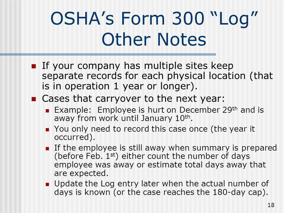 OSHA's Form 300 Log Other Notes