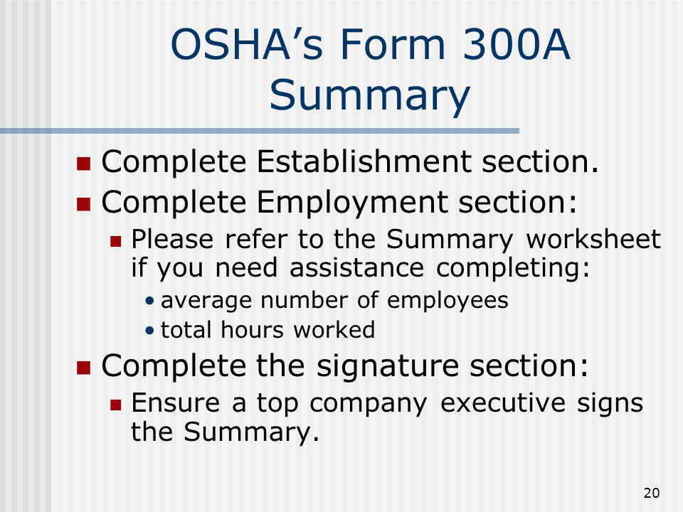 OSHA's Form 300A Summary Complete Establishment section.