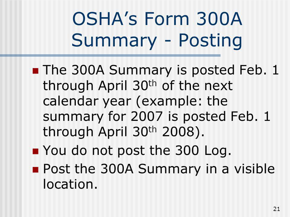 OSHA's Form 300A Summary - Posting
