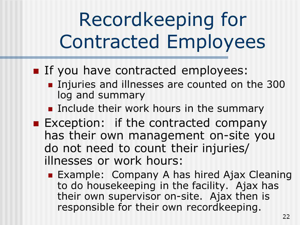 Recordkeeping for Contracted Employees