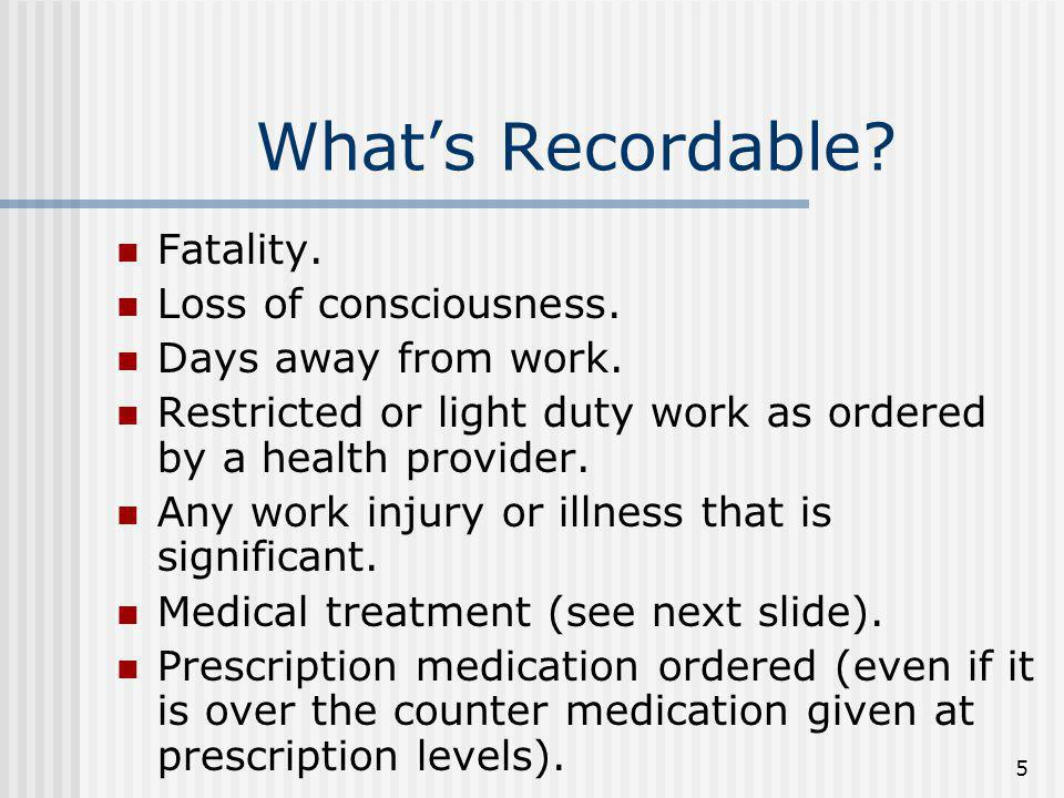 What's Recordable Fatality. Loss of consciousness.