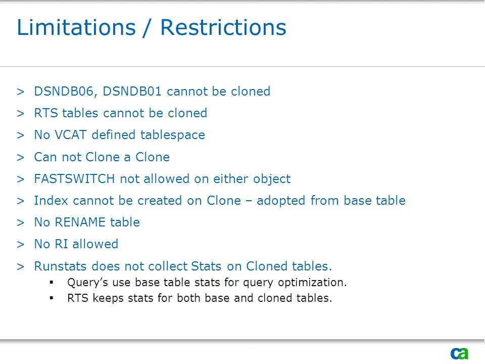 Limitations / Restrictions