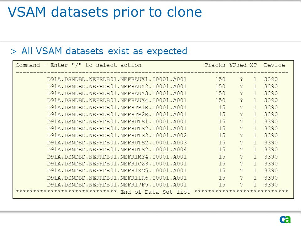 VSAM datasets prior to clone