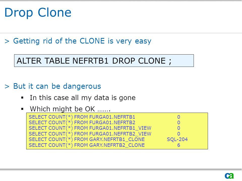 Drop Clone ALTER TABLE NEFRTB1 DROP CLONE ;