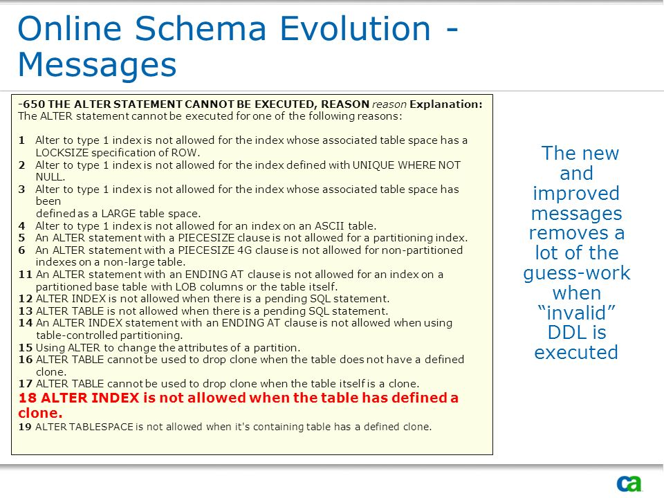 Online Schema Evolution - Messages