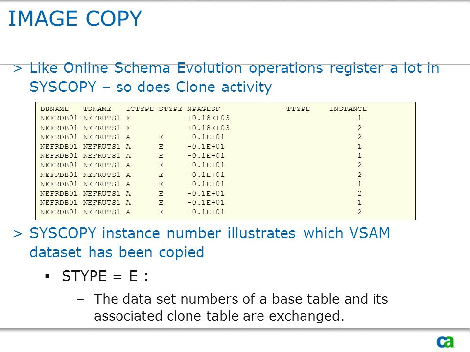 IMAGE COPYLike Online Schema Evolution operations register a lot in SYSCOPY – so does Clone activity.