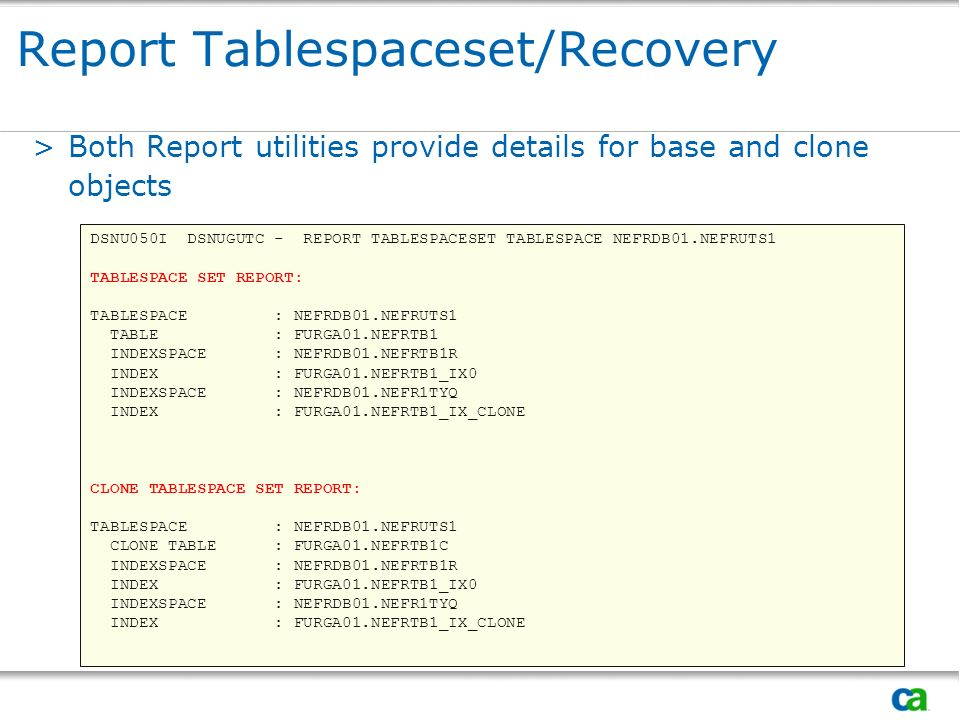 Report Tablespaceset/Recovery