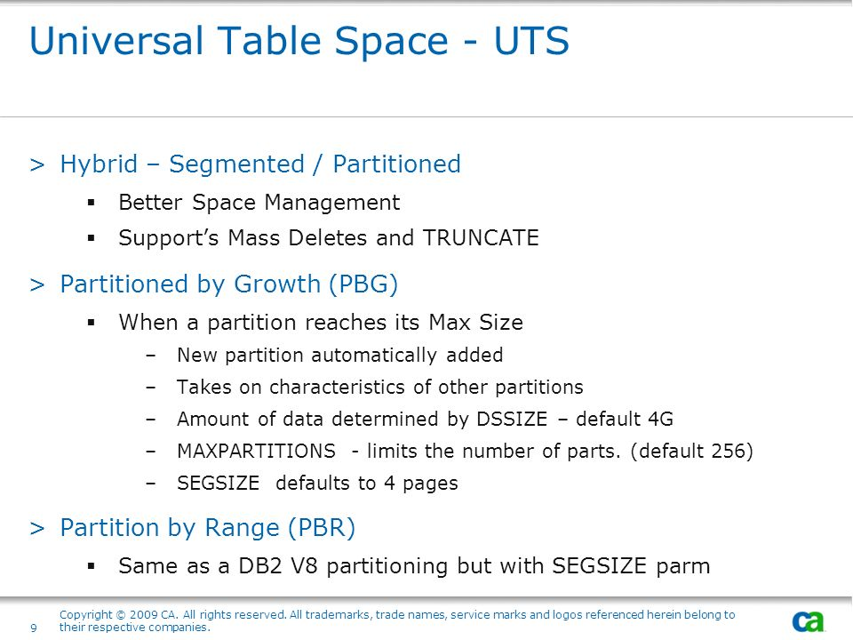 Universal Table Space - UTS