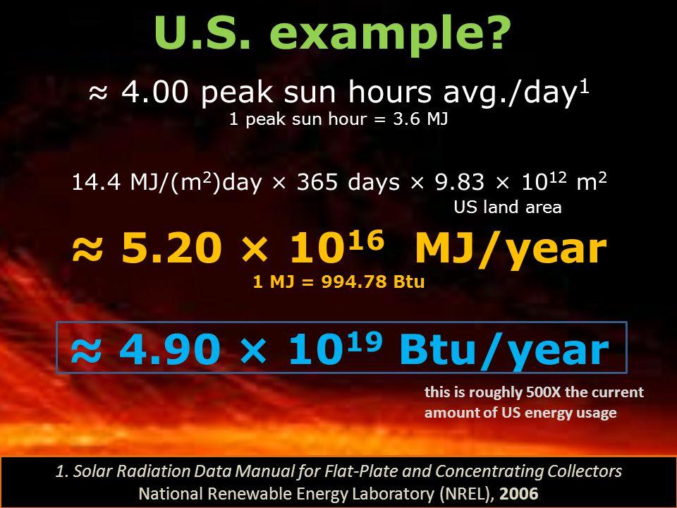 U.S. example ≈ 5.20 × 1016 MJ/year ≈ 4.90 × 1019 Btu/year