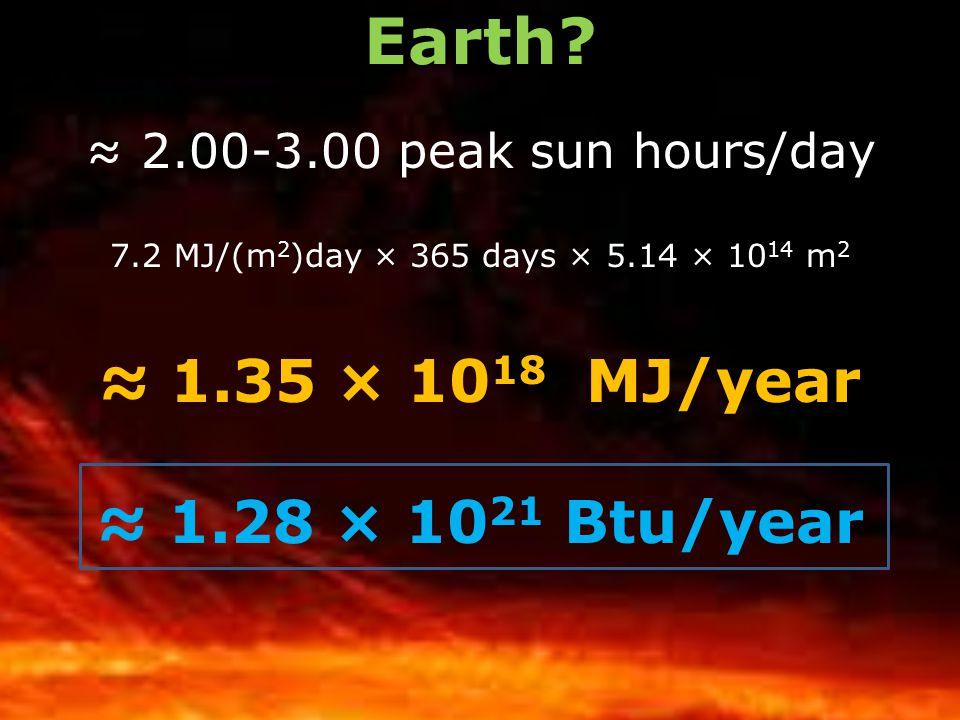Earth ≈ 1.35 × 1018 MJ/year ≈ 1.28 × 1021 Btu/year