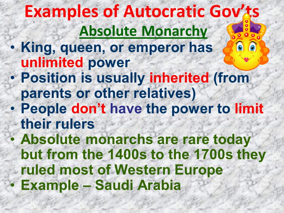 Examples of Autocratic Gov'ts