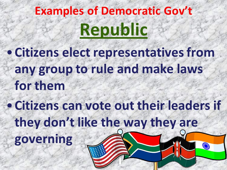 Examples of Democratic Gov't