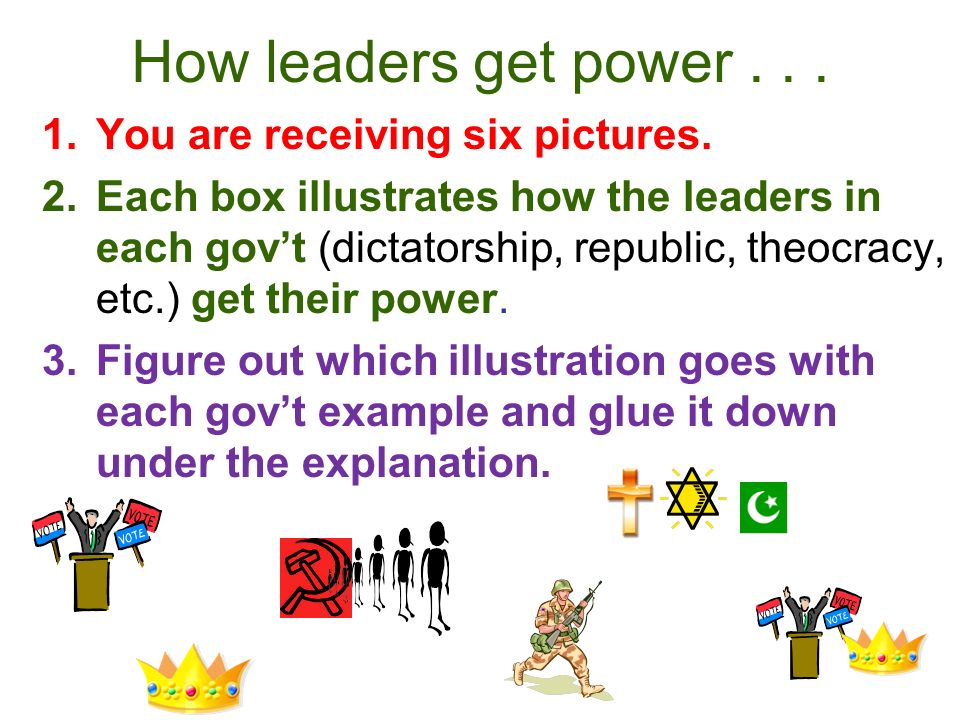 How leaders get power You are receiving six pictures.