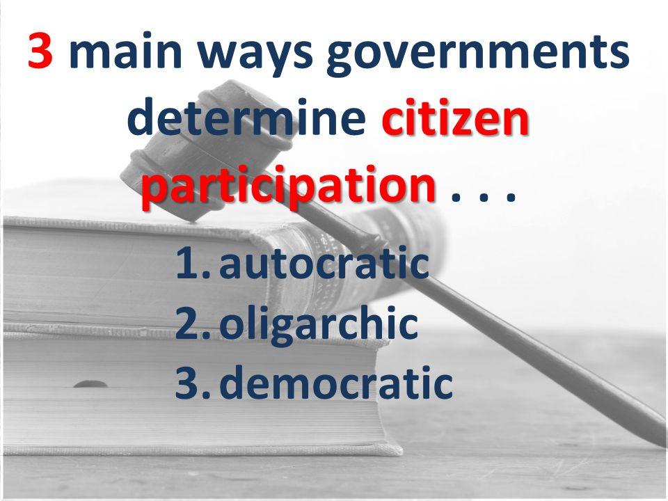 3 main ways governments determine citizen participation . . .