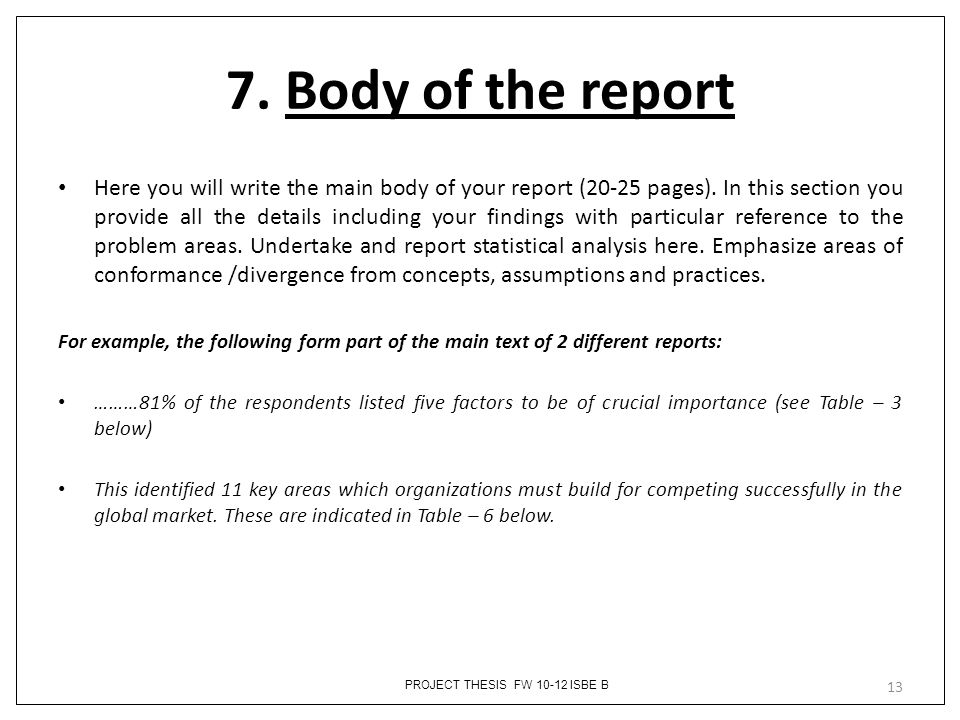 7. Body of the report