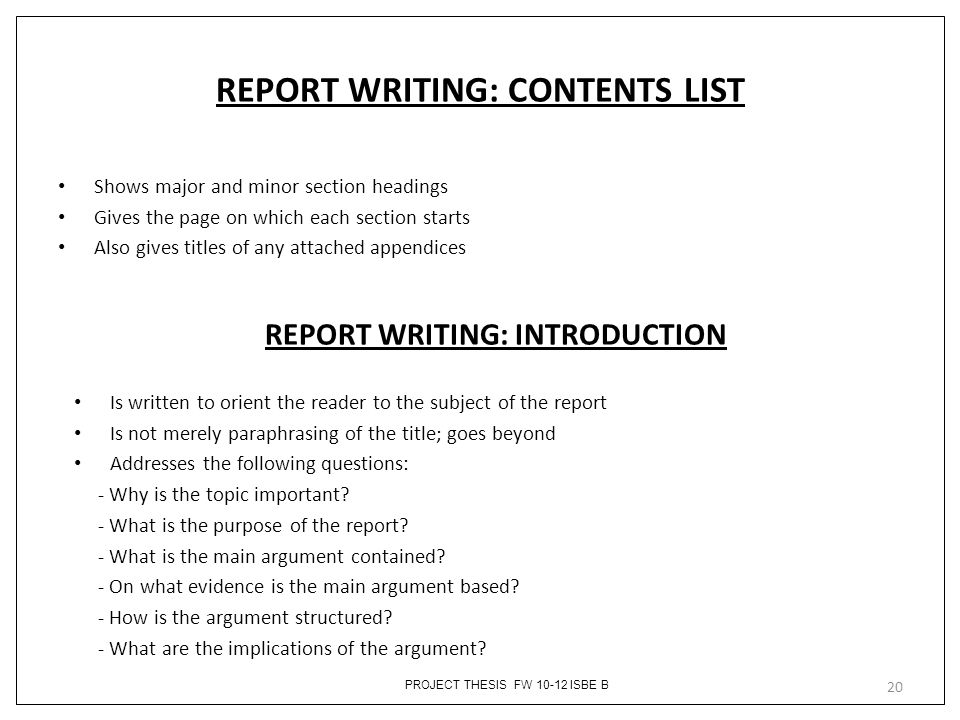 REPORT WRITING: CONTENTS LIST