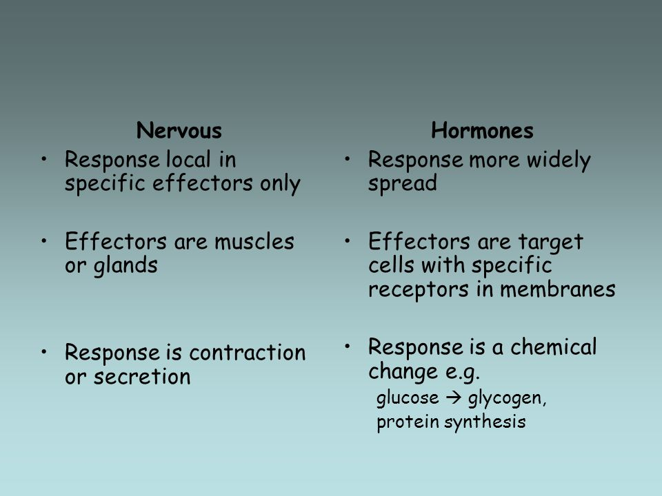 Response local in specific effectors only