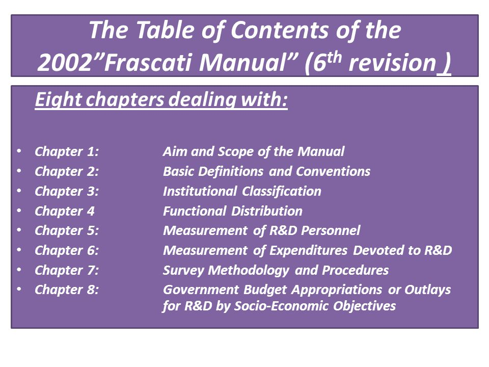 The Table of Contents of the 2002 Frascati Manual (6th revision )
