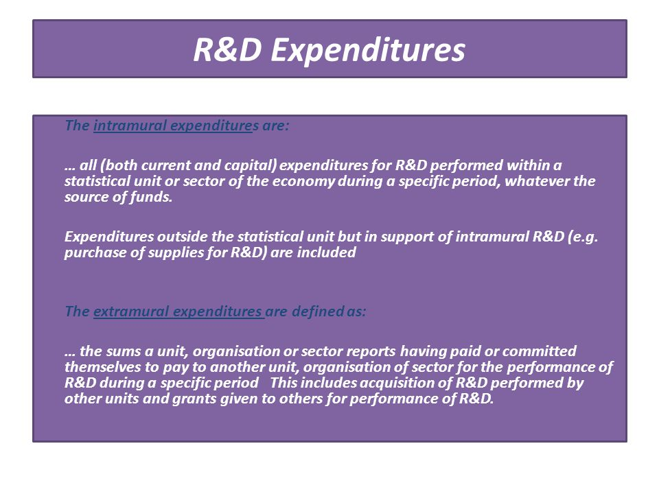 R&D Expenditures The intramural expenditures are: