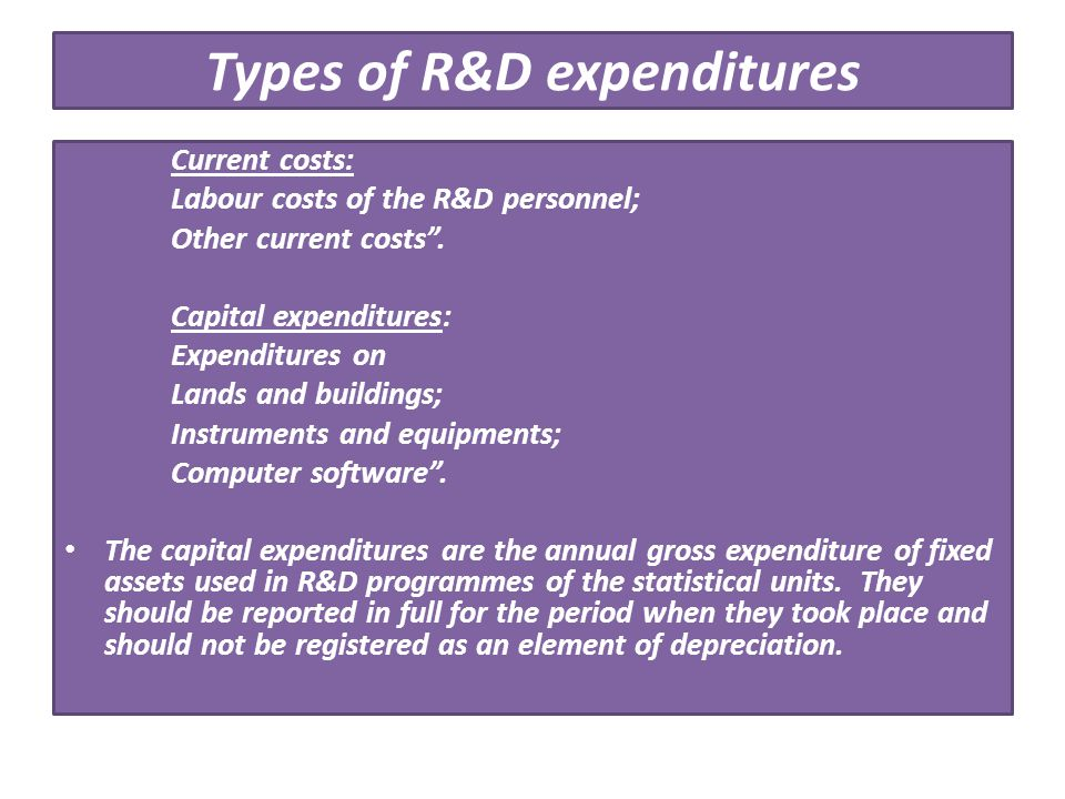 Types of R&D expenditures