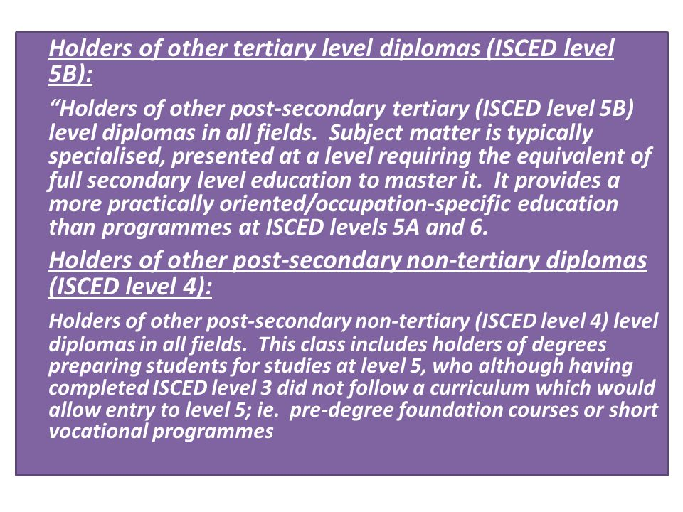 Holders of other tertiary level diplomas (ISCED level 5B):