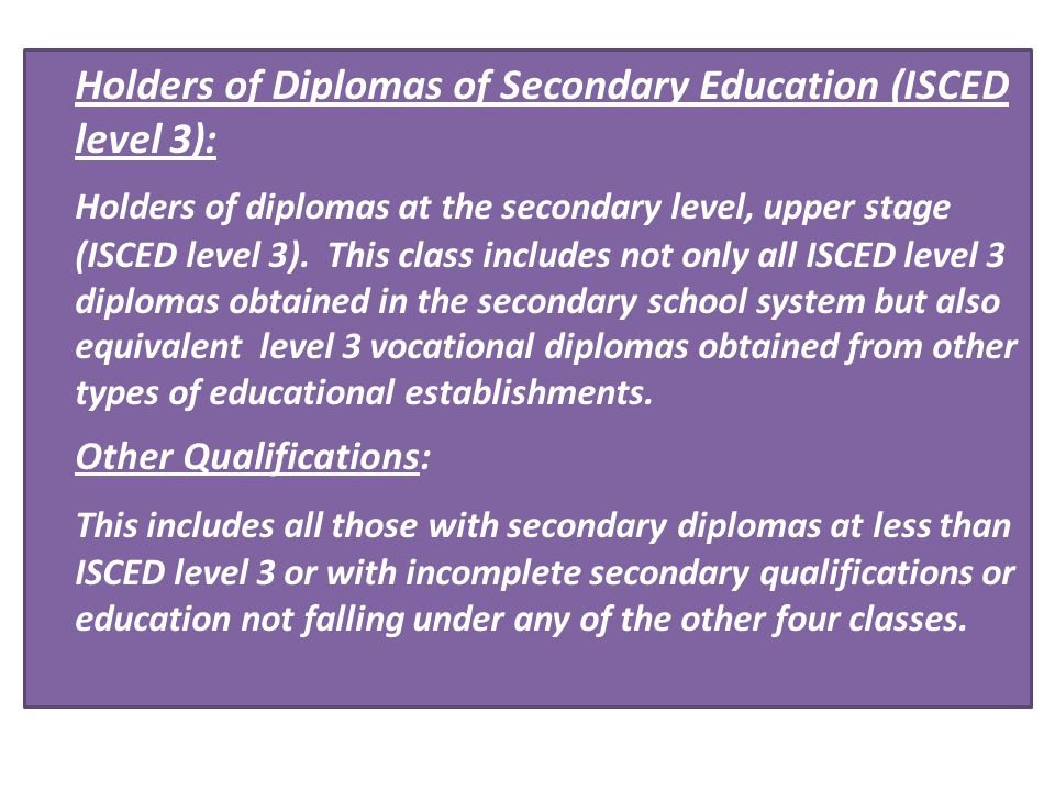 Holders of Diplomas of Secondary Education (ISCED level 3):