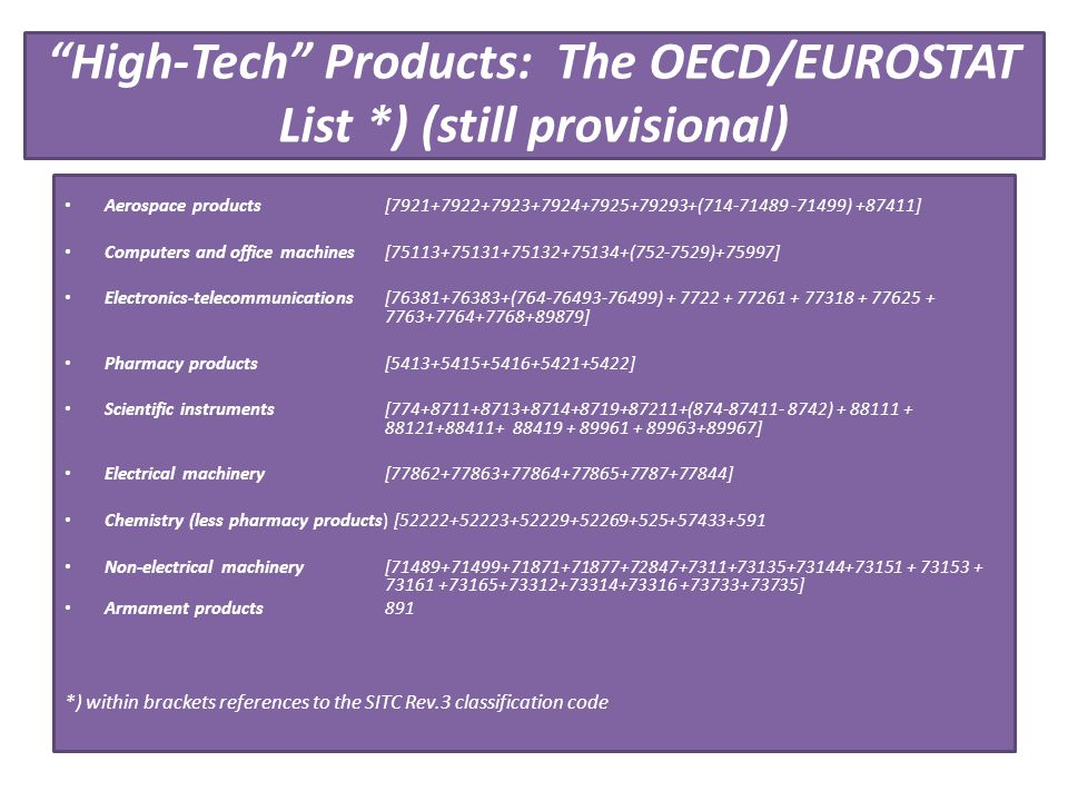 High-Tech Products: The OECD/EUROSTAT List *) (still provisional)